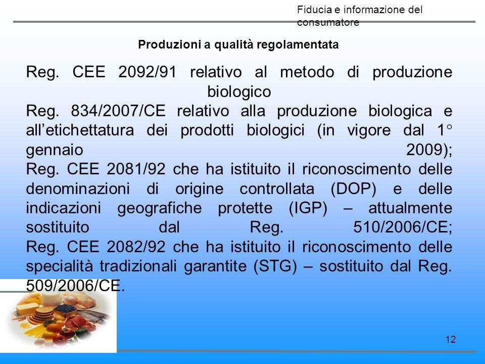 12 Produzioni a qualità regolamentata Reg. CEE 2092/91 relativo al metodo di produzione biologico Reg. 834/2007/CE relativo alla produzione biologica