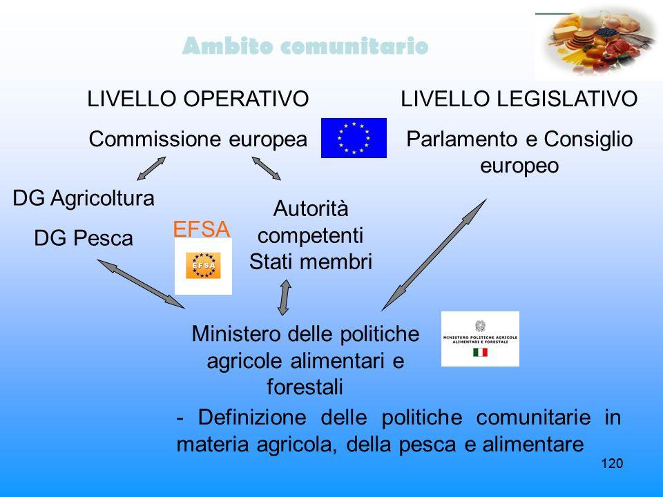 120 Ambito comunitario LIVELLO OPERATIVO Commissione europea DG Agricoltura DG Pesca Autorità competenti Stati membri Ministero delle politiche agrico