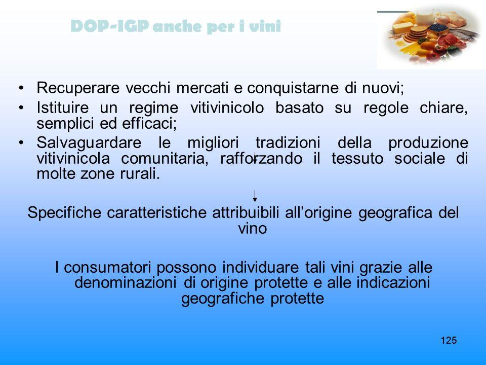 125 DOP-IGP anche per i vini Recuperare vecchi mercati e conquistarne di nuovi; Istituire un regime vitivinicolo basato su regole chiare, semplici ed