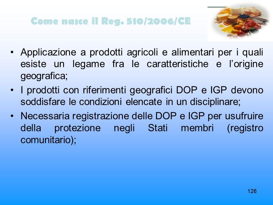 126 Come nasce il Reg. 510/2006/CE Applicazione a prodotti agricoli e alimentari per i quali esiste un legame fra le caratteristiche e lorigine geogra