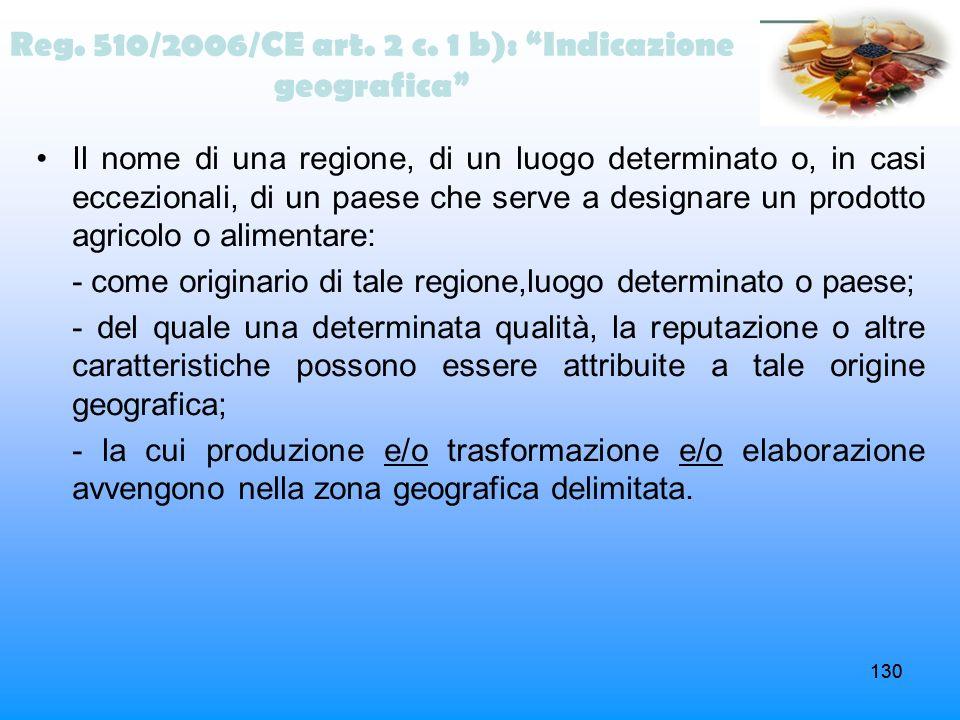130 Reg. 510/2006/CE art. 2 c. 1 b): Indicazione geografica Il nome di una regione, di un luogo determinato o, in casi eccezionali, di un paese che se