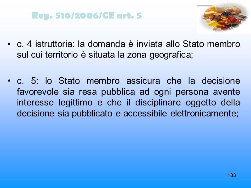 133 Reg. 510/2006/CE art. 5 c. 4 istruttoria: la domanda è inviata allo Stato membro sul cui territorio è situata la zona geografica; c. 5: lo Stato m