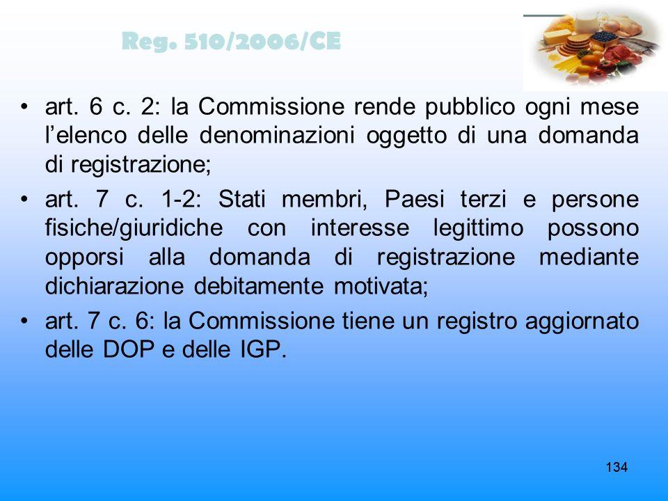 134 art. 6 c. 2: la Commissione rende pubblico ogni mese lelenco delle denominazioni oggetto di una domanda di registrazione; art. 7 c. 1-2: Stati mem