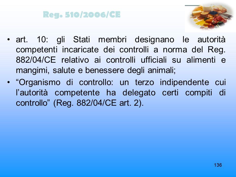 136 art. 10: gli Stati membri designano le autorità competenti incaricate dei controlli a norma del Reg. 882/04/CE relativo ai controlli ufficiali su