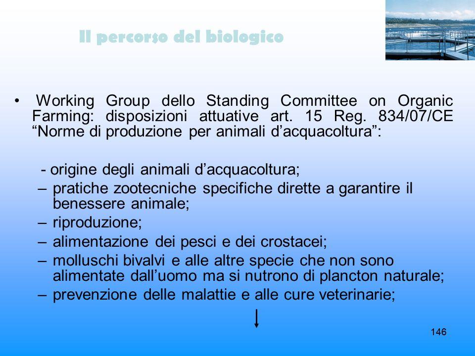 146 Il percorso del biologico Working Group dello Standing Committee on Organic Farming: disposizioni attuative art. 15 Reg. 834/07/CE Norme di produz