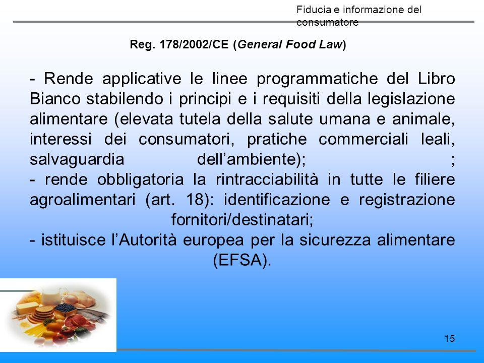 15 Reg. 178/2002/CE (General Food Law) - Rende applicative le linee programmatiche del Libro Bianco stabilendo i principi e i requisiti della legislaz