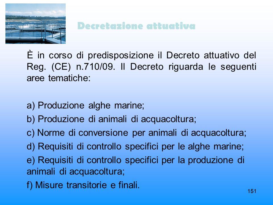 151 Decretazione attuativa È in corso di predisposizione il Decreto attuativo del Reg. (CE) n.710/09. Il Decreto riguarda le seguenti aree tematiche: