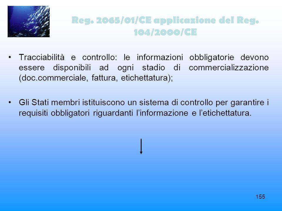 155 Tracciabilità e controllo: le informazioni obbligatorie devono essere disponibili ad ogni stadio di commercializzazione (doc.commerciale, fattura,