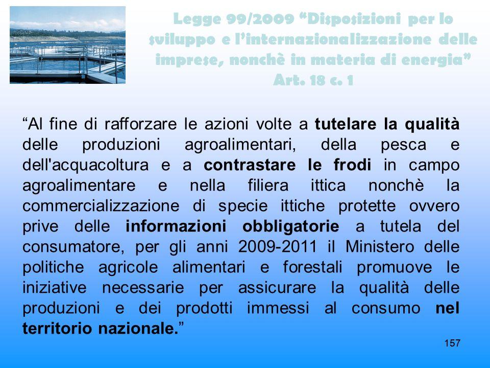 157 Legge 99/2009 Disposizioni per lo sviluppo e linternazionalizzazione delle imprese, nonchè in materia di energia Art. 18 c. 1 Al fine di rafforzar