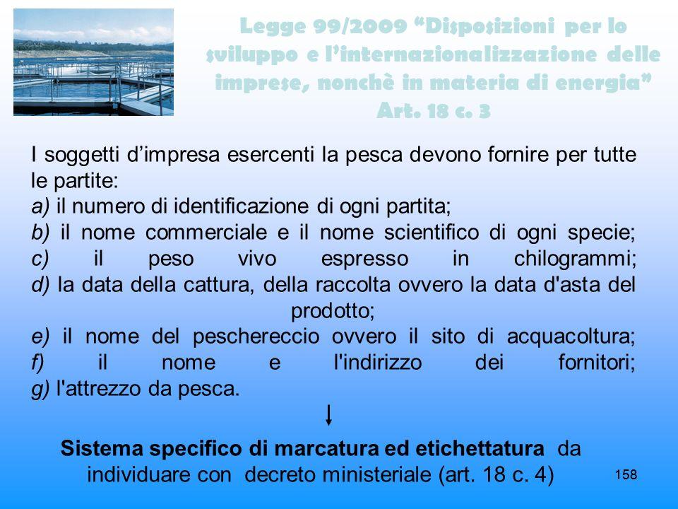 158 Legge 99/2009 Disposizioni per lo sviluppo e linternazionalizzazione delle imprese, nonchè in materia di energia Art. 18 c. 3 I soggetti dimpresa