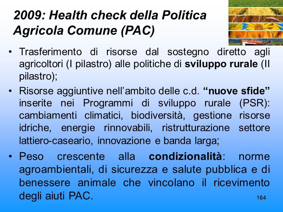 164 2009: Health check della Politica Agricola Comune (PAC) Trasferimento di risorse dal sostegno diretto agli agricoltori (I pilastro) alle politiche