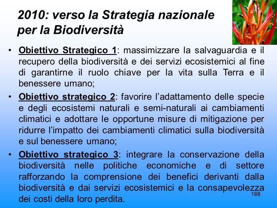 166 2010: verso la Strategia nazionale per la Biodiversità Obiettivo Strategico 1: massimizzare la salvaguardia e il recupero della biodiversità e dei