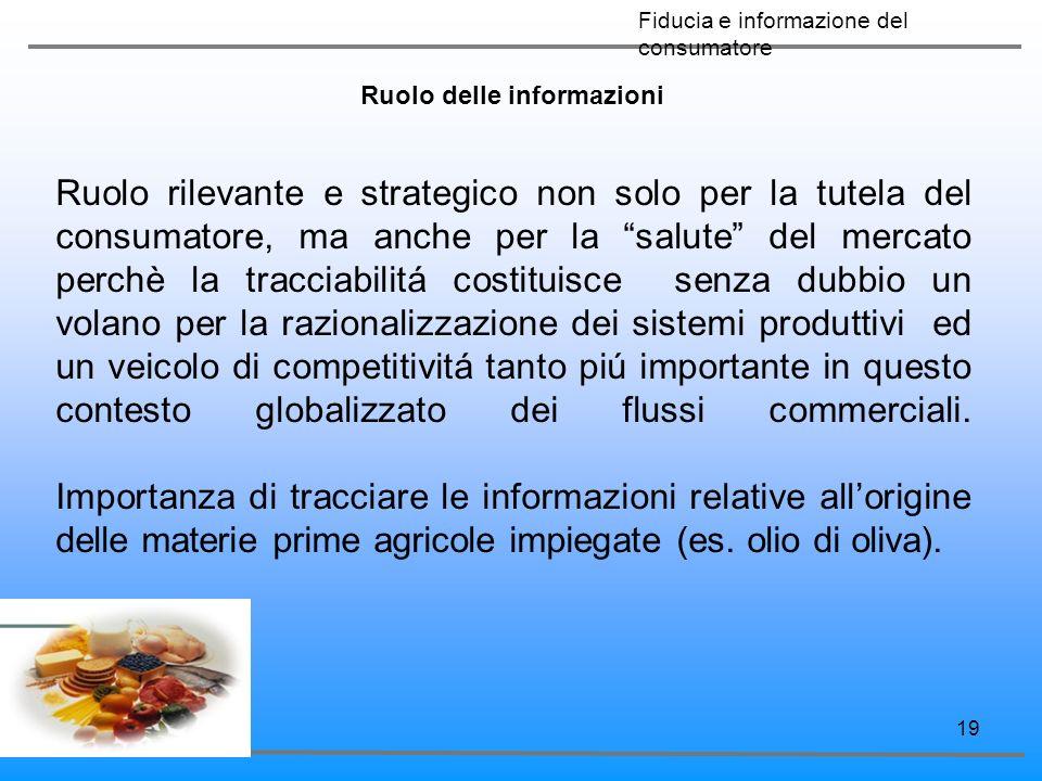 19 Ruolo delle informazioni Ruolo rilevante e strategico non solo per la tutela del consumatore, ma anche per la salute del mercato perchè la tracciab