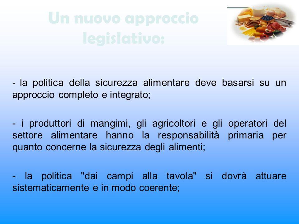 Un nuovo approccio legislativo: - la politica della sicurezza alimentare deve basarsi su un approccio completo e integrato; - i produttori di mangimi,