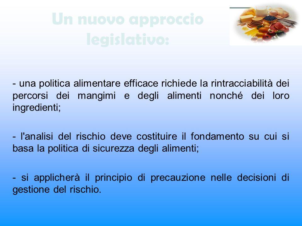 Un nuovo approccio legislativo: - una politica alimentare efficace richiede la rintracciabilità dei percorsi dei mangimi e degli alimenti nonché dei l