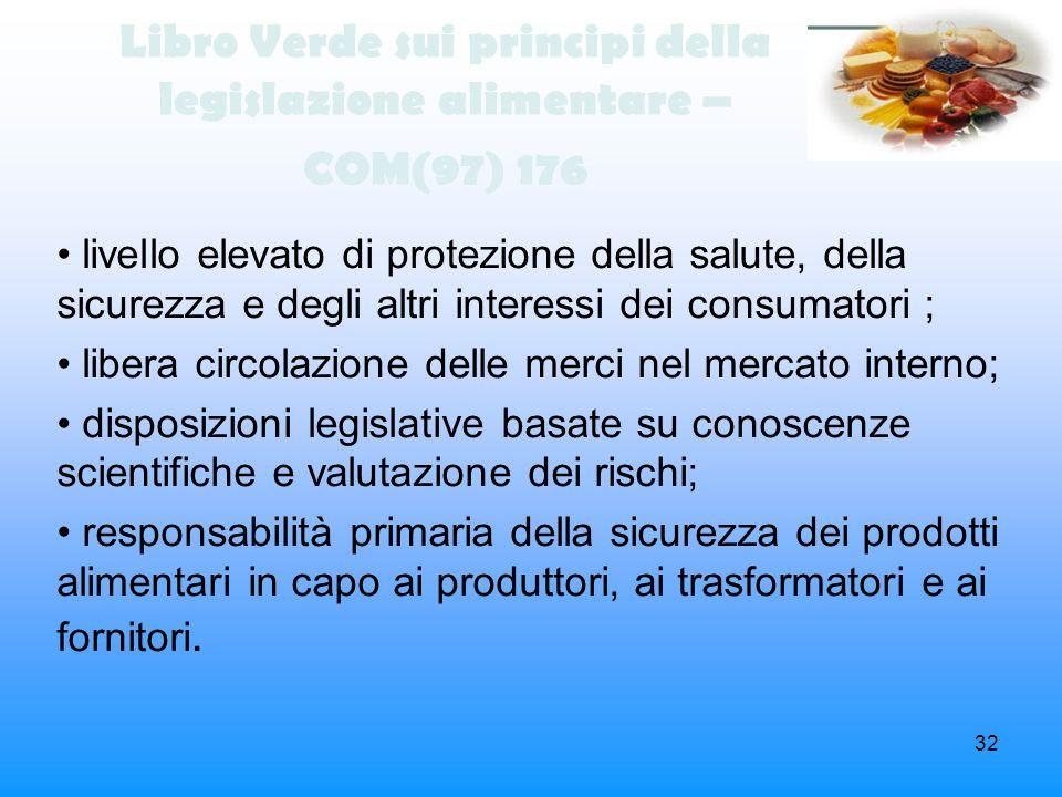 32 Libro Verde sui principi della legislazione alimentare – COM(97) 176 livello elevato di protezione della salute, della sicurezza e degli altri inte