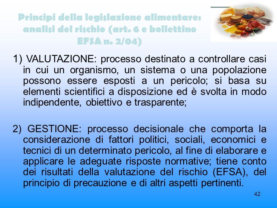 42 Principi della legislazione alimentare: analisi del rischio (art. 6 e bollettino EFSA n. 2/04) 1) VALUTAZIONE: processo destinato a controllare cas