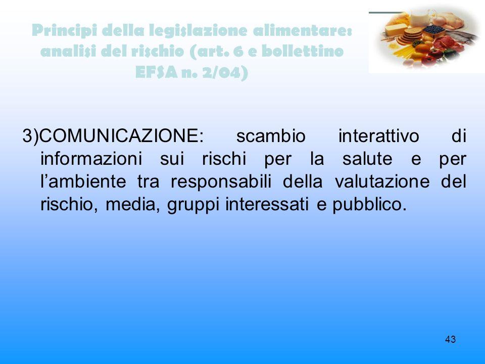 43 Principi della legislazione alimentare: analisi del rischio (art. 6 e bollettino EFSA n. 2/04) 3)COMUNICAZIONE: scambio interattivo di informazioni