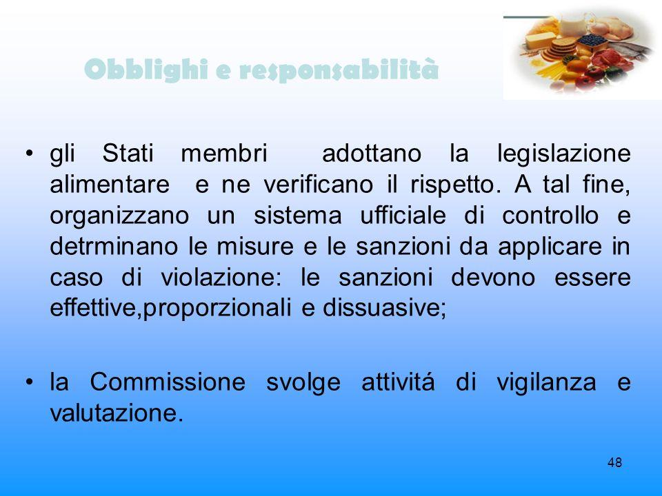 48 Obblighi e responsabilità gli Stati membri adottano la legislazione alimentare e ne verificano il rispetto. A tal fine, organizzano un sistema uffi