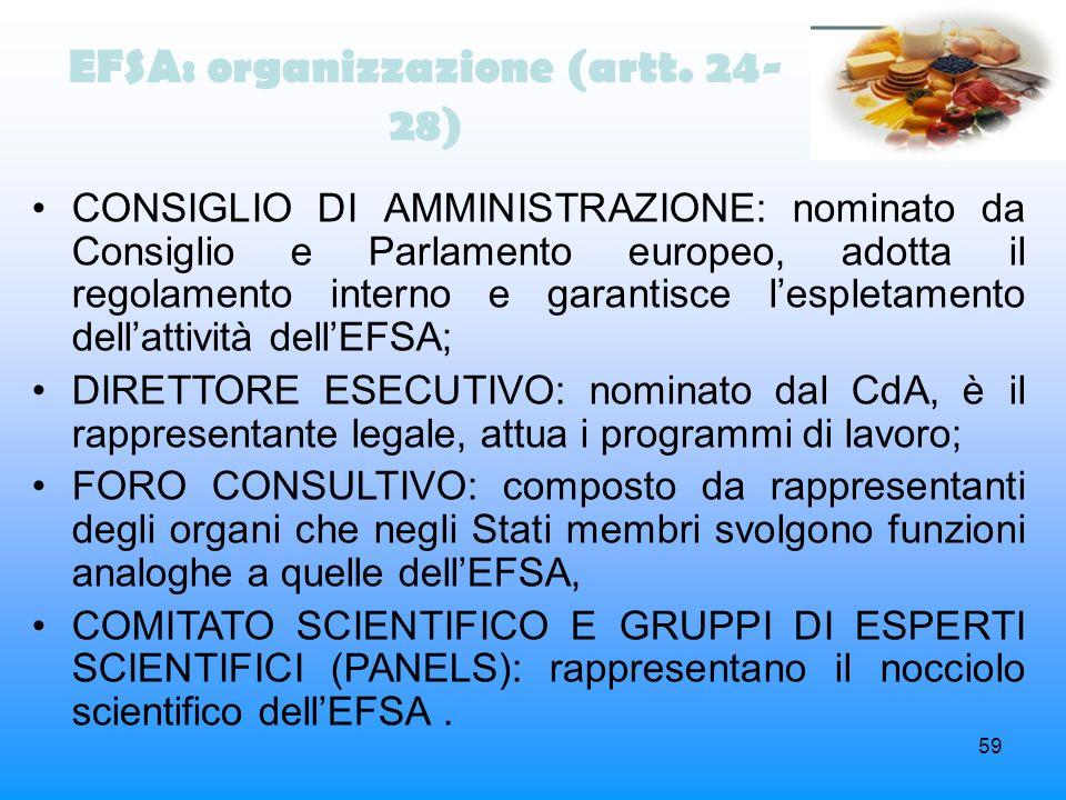 59 EFSA: organizzazione (artt. 24- 28) CONSIGLIO DI AMMINISTRAZIONE: nominato da Consiglio e Parlamento europeo, adotta il regolamento interno e garan