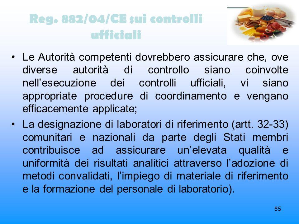 65 Reg. 882/04/CE sui controlli ufficiali Le Autorità competenti dovrebbero assicurare che, ove diverse autorità di controllo siano coinvolte nellesec