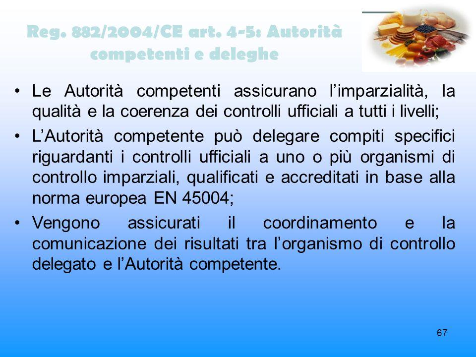 67 Reg. 882/2004/CE art. 4-5: Autorità competenti e deleghe Le Autorità competenti assicurano limparzialità, la qualità e la coerenza dei controlli uf