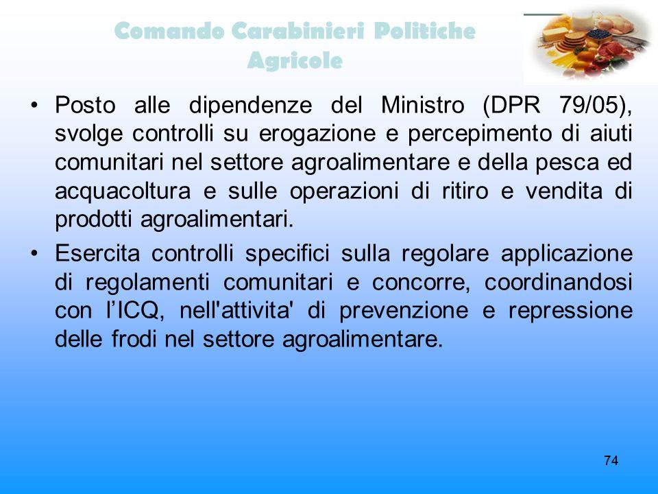 74 Comando Carabinieri Politiche Agricole Posto alle dipendenze del Ministro (DPR 79/05), svolge controlli su erogazione e percepimento di aiuti comun