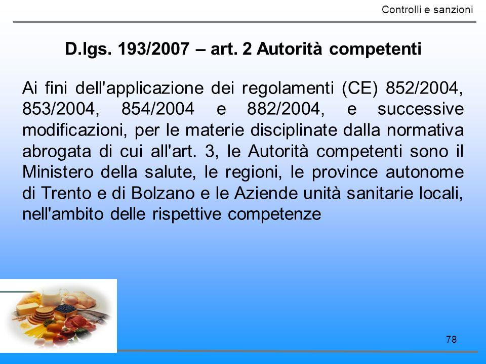 78 D.lgs. 193/2007 – art. 2 Autorità competenti Controlli e sanzioni Ai fini dell'applicazione dei regolamenti (CE) 852/2004, 853/2004, 854/2004 e 882