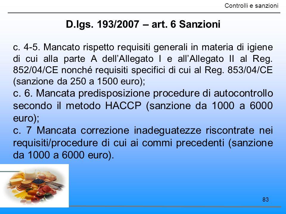 83 D.lgs. 193/2007 – art. 6 Sanzioni Controlli e sanzioni c. 4-5. Mancato rispetto requisiti generali in materia di igiene di cui alla parte A dellAll