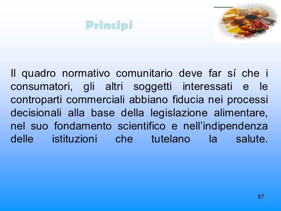 87 Principi Il quadro normativo comunitario deve far sí che i consumatori, gli altri soggetti interessati e le controparti commerciali abbiano fiducia