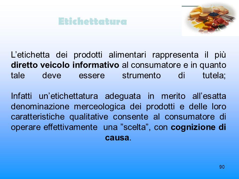 90 Etichettatura Letichetta dei prodotti alimentari rappresenta il più diretto veicolo informativo al consumatore e in quanto tale deve essere strumen