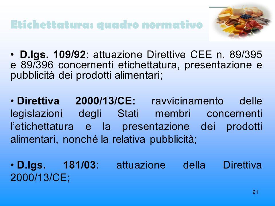 91 Etichettatura: quadro normativo D.lgs. 109/92: attuazione Direttive CEE n. 89/395 e 89/396 concernenti etichettatura, presentazione e pubblicità de
