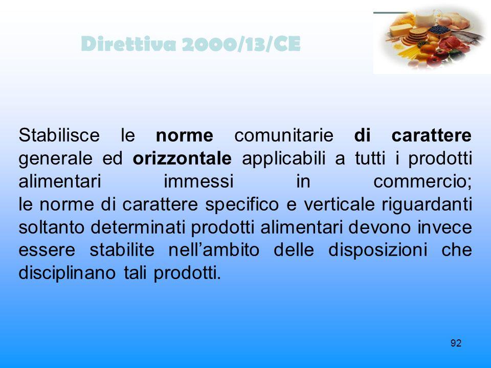 92 Direttiva 2000/13/CE Stabilisce le norme comunitarie di carattere generale ed orizzontale applicabili a tutti i prodotti alimentari immessi in comm