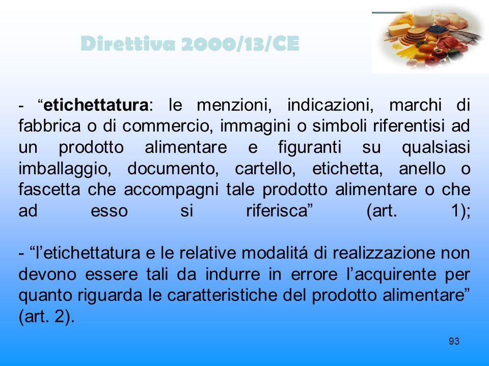 93 Direttiva 2000/13/CE - etichettatura: le menzioni, indicazioni, marchi di fabbrica o di commercio, immagini o simboli riferentisi ad un prodotto al