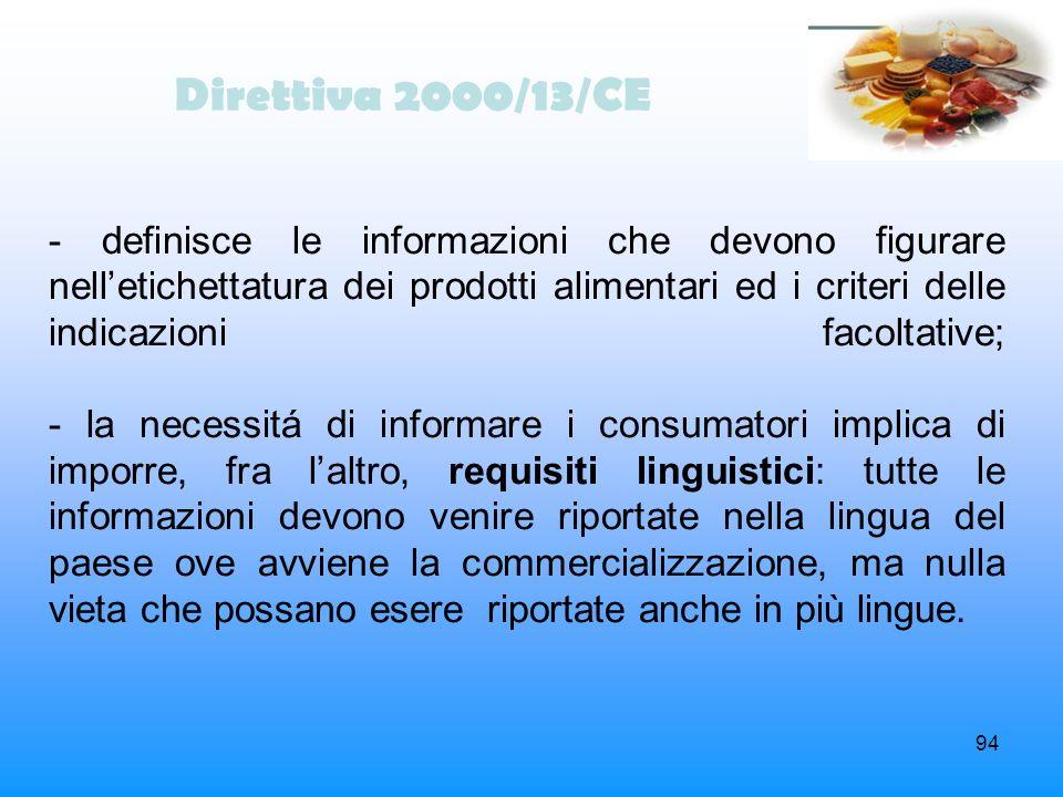 94 Direttiva 2000/13/CE - definisce le informazioni che devono figurare nelletichettatura dei prodotti alimentari ed i criteri delle indicazioni facol