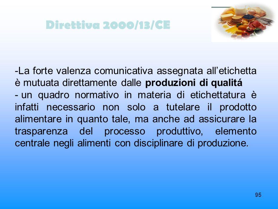95 Direttiva 2000/13/CE -La forte valenza comunicativa assegnata alletichetta è mutuata direttamente dalle produzioni di qualitá. - un quadro normativ