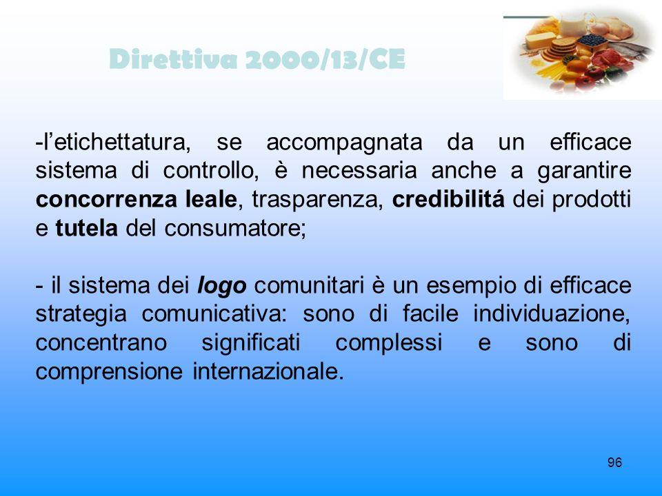 96 Direttiva 2000/13/CE -letichettatura, se accompagnata da un efficace sistema di controllo, è necessaria anche a garantire concorrenza leale, traspa