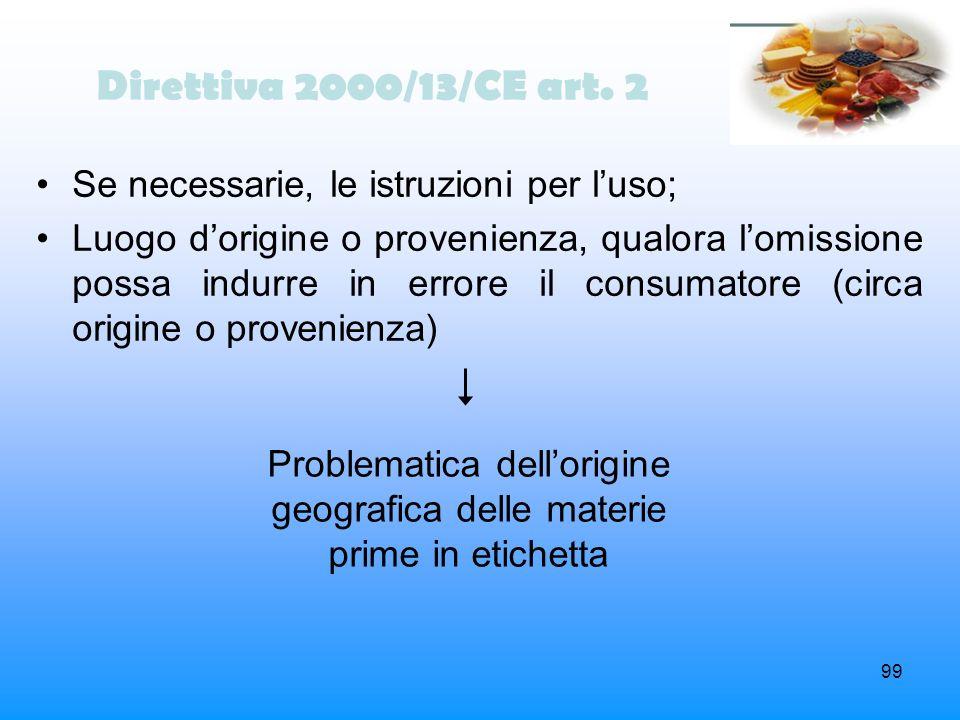 99 Direttiva 2000/13/CE art. 2 Se necessarie, le istruzioni per luso; Luogo dorigine o provenienza, qualora lomissione possa indurre in errore il cons