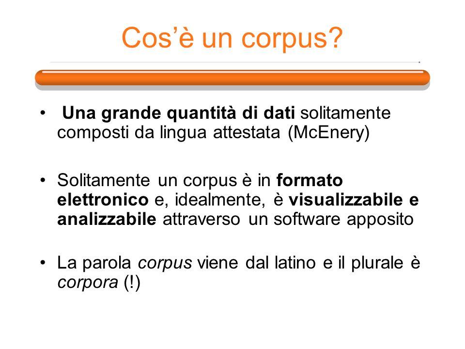 Cosè un corpus? Una grande quantità di dati solitamente composti da lingua attestata (McEnery) Solitamente un corpus è in formato elettronico e, ideal