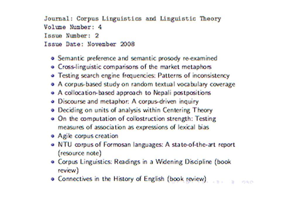 Campi in cui si usano corpora Lessicografia -> dizionari Studi a tutti i livelli di analisi linguistica che abbiamo visto Linguistica computazionale (per esempio in apprendimento automatico) Language teaching (learners corpora) Sociolinguistica (variazioni di diversi tipi) …