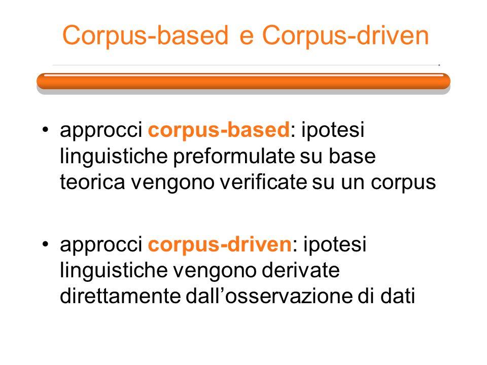 Corpus-based e Corpus-driven approcci corpus-based: ipotesi linguistiche preformulate su base teorica vengono verificate su un corpus approcci corpus-