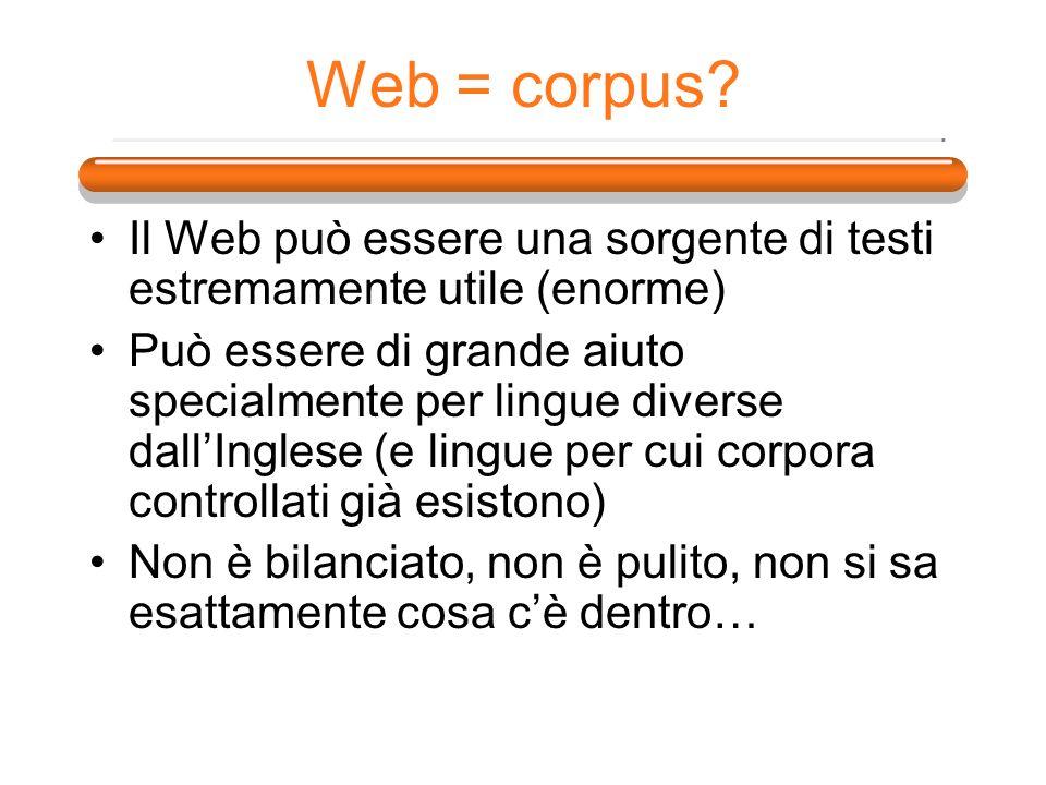 Il Web può essere una sorgente di testi estremamente utile (enorme) Può essere di grande aiuto specialmente per lingue diverse dallInglese (e lingue p