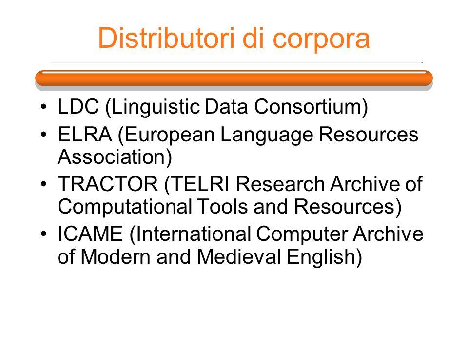 Distributori di corpora LDC (Linguistic Data Consortium) ELRA (European Language Resources Association) TRACTOR (TELRI Research Archive of Computation