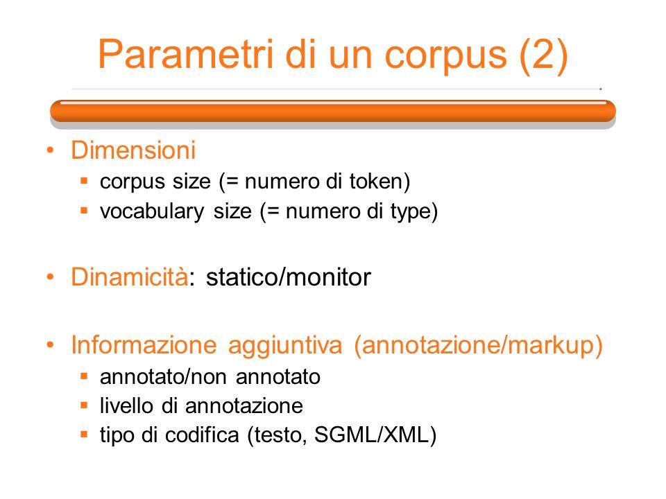 Parametri di un corpus (2) Dimensioni corpus size (= numero di token) vocabulary size (= numero di type) Dinamicità: statico/monitor Informazione aggi