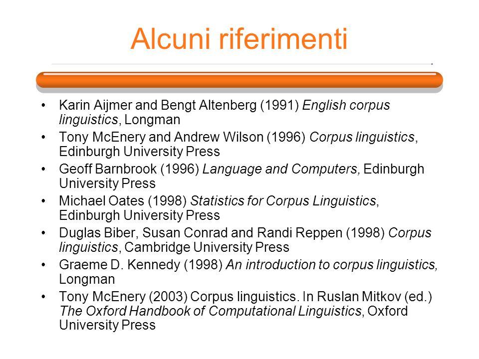 Alcuni riferimenti Karin Aijmer and Bengt Altenberg (1991) English corpus linguistics, Longman Tony McEnery and Andrew Wilson (1996) Corpus linguistic