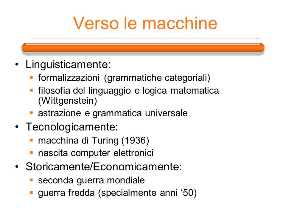 Verso le macchine Linguisticamente: formalizzazioni (grammatiche categoriali) filosofia del linguaggio e logica matematica (Wittgenstein) astrazione e