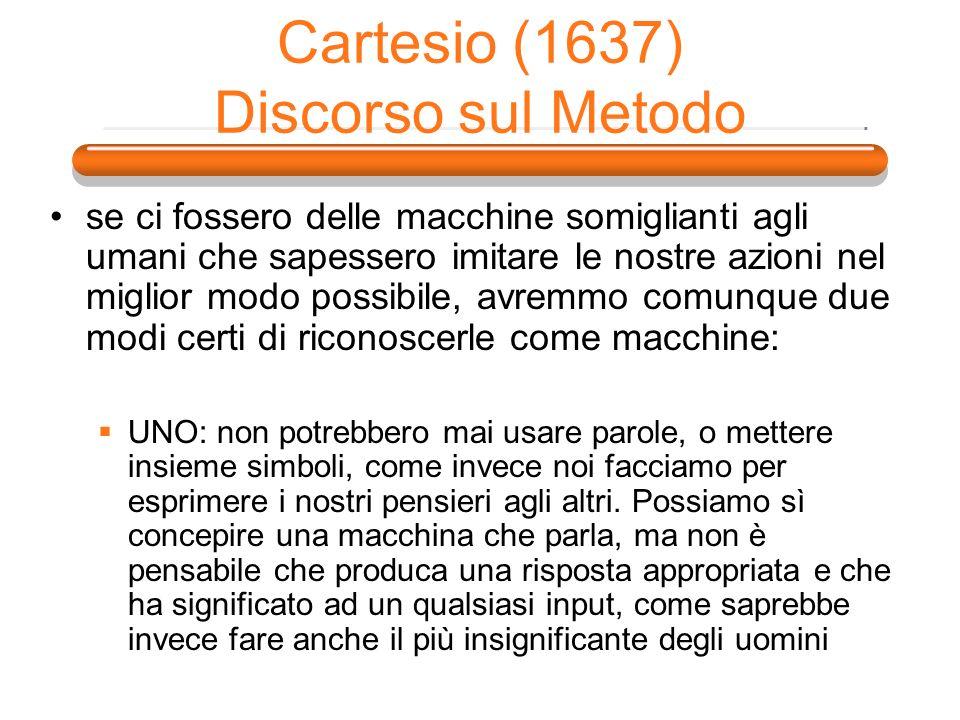 Cartesio (1637) Discorso sul Metodo se ci fossero delle macchine somiglianti agli umani che sapessero imitare le nostre azioni nel miglior modo possib