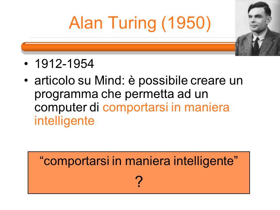 Alan Turing (1950) 1912-1954 articolo su Mind: è possibile creare un programma che permetta ad un computer di comportarsi in maniera intelligente comp