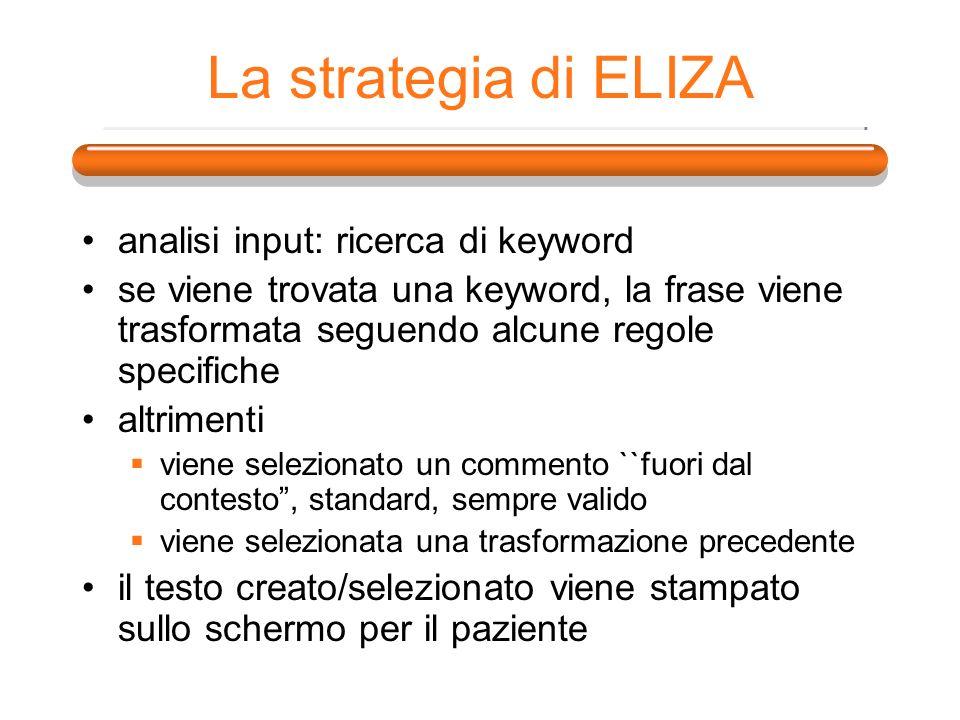 La strategia di ELIZA analisi input: ricerca di keyword se viene trovata una keyword, la frase viene trasformata seguendo alcune regole specifiche alt
