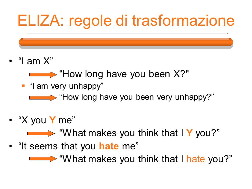 ELIZA: regole di trasformazione I am X How long have you been X? I am very unhappy How long have you been very unhappy.
